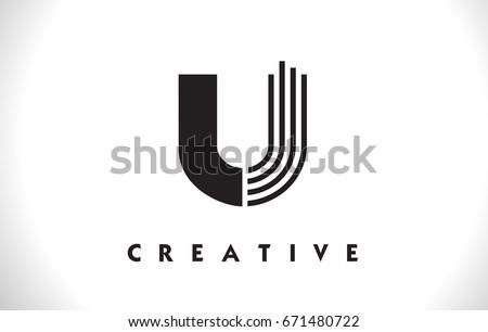 U Letter Logo With Black Lines Design Line Symbol Vector Illustration