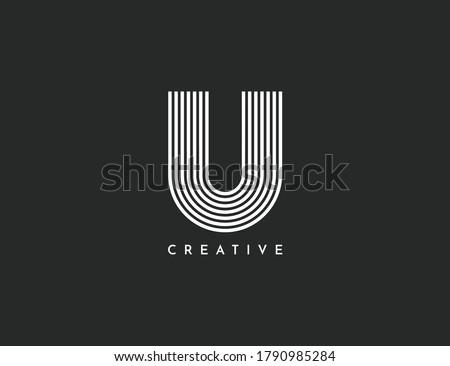 U Letter Logo With White Lines Dynamic Design.Connection Of Lines, Letter Symbol Vector Illustration Template. Modern, Elegant symbol. Stok fotoğraf ©