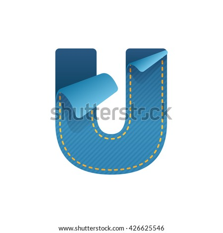 u letter of denim with folded