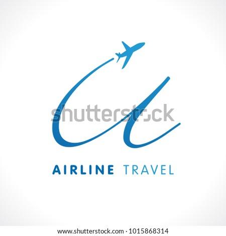 "U letter transport travel company logo. Airline business travel symbol design with letter ""u"". Union travel vector logo template"