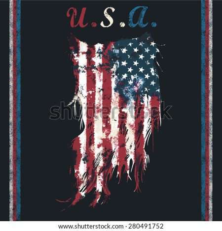 usa ripped flag fashion tee