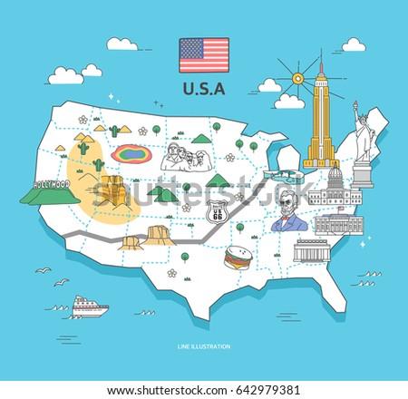 usa travel landmark collection