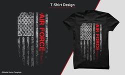 U.S. Air Force vintage tshirt design with grunge vector illustration of USA flag.T-shirt print design.