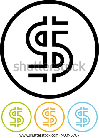 U.S. Dollar sign - Vector icon isolated on white - stock vector
