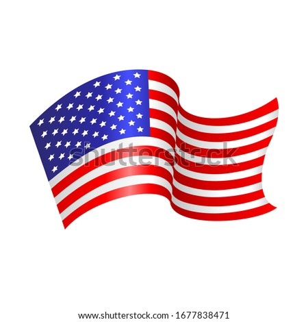 U.S. flying flag. Vector illustration with the flag of the United States of America waving isolated on a white background. Patriotic concept USA. US Independence day decoration, icon, banner. US flag.