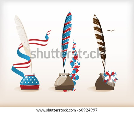 U.S. holidays. A set of ink and pens - stock vector