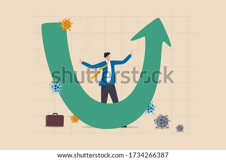 U shape economic recovery after Coronavirus COVID-19 crash concept, businessman professional analyse world economic, business will recover and restore in U shape graph and chart with virus pathogen
