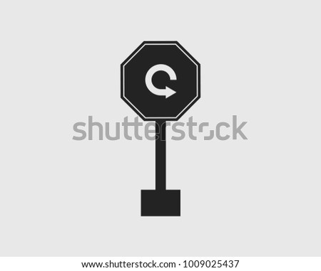 U turn  arrow sign icon on gray background.