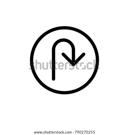 u-turn icon,vector illustration. Flat design style. vector u-turn icon illustration isolated on White background, u-turn icon Eps10. u-turn icons graphic design vector symbols.