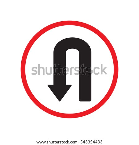 u turn left direction sign vector