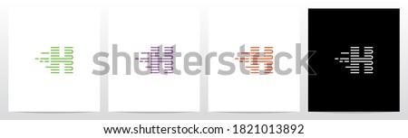 U Turn Lines Formed Letter Logo Design H Foto stock ©
