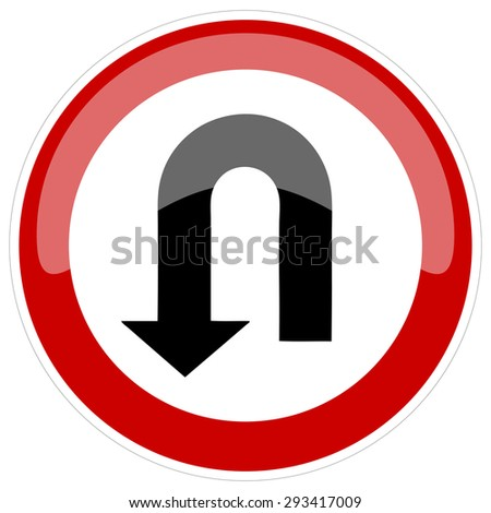 U Turn on a Red and White Road Sign, Vector Illustration.