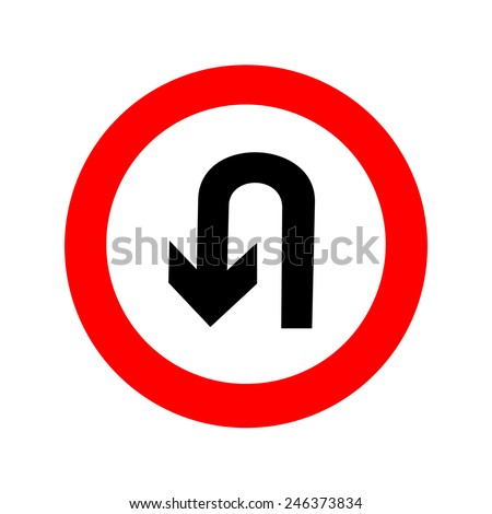 U-Turn road sign. icon great for any use. Vector EPS10.