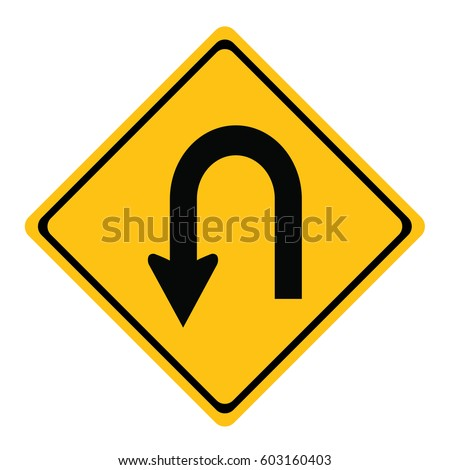 U-Turn Roadsign (traffic, turn, sign)