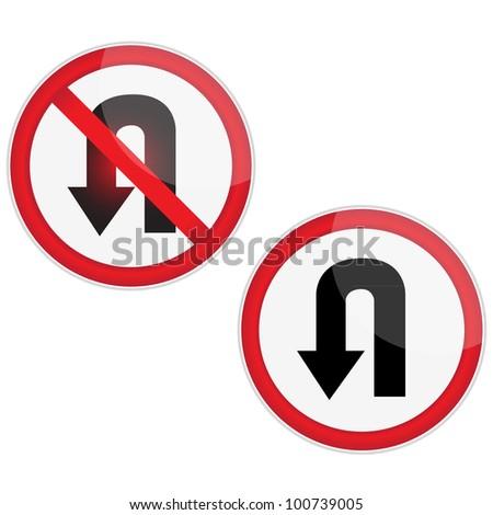 U Turn Signage.Vector