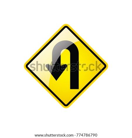 U- turn Symbol icon on white background, Attracting attention,Compulsory, Control, and practice.