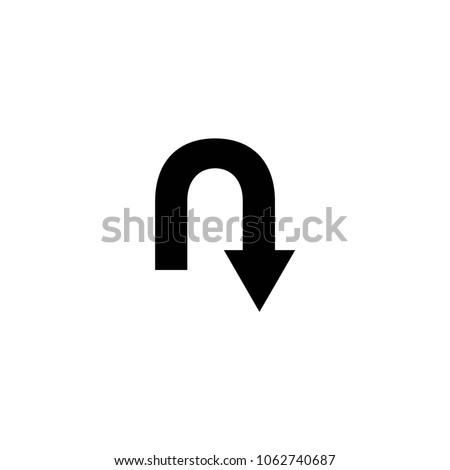 u turn symbol vector
