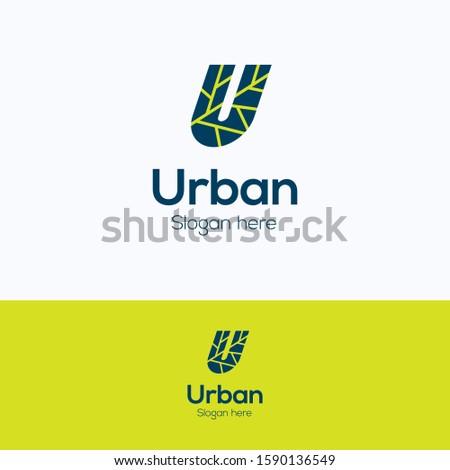 u urban logo flat letter logo