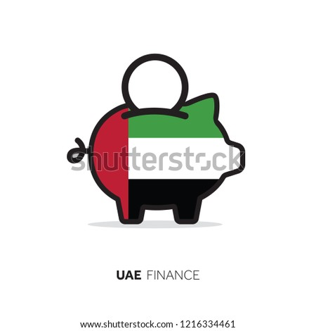 UAE economic concept. Piggy bank with national flag.