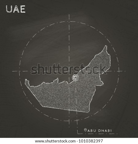 UAE map hand drawn with chalk on a school blackboard. Vector illustration.