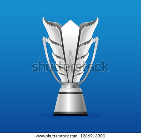 UAE 2019 Silver trophy cup isolated on blue background. Vector illustration