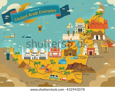 uae travel concept map with