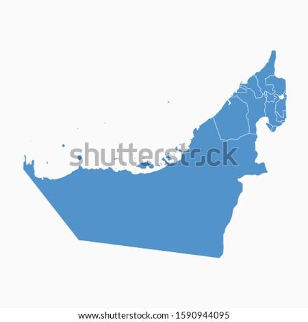 UAE United Arab Emirates Blue Map On White Background United Arab Emirates Modern Icon Map United Arab Emirates Simple Vector illustration EPS10