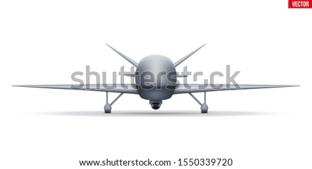 UAV Drone. Military Unmanned aircraft spy. Front view. Vector Illustration isolated on white background.