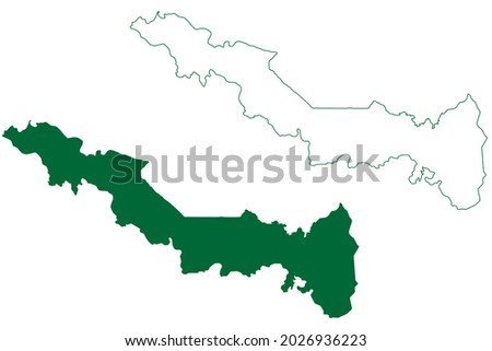 Udham Singh Nagar district (Uttarakhand or Uttaranchal State, Republic of India) map vector illustration, scribble sketch Udham Singh Nagar map