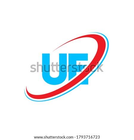 UE U E letter logo design. Initial letter UE linked circle uppercase monogram logo red and blue. UE logo, U E design. ue, u e  Foto stock ©