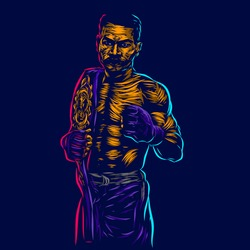 UFC Mixed martial artist fighter line pop art potrait logo colorful design with dark background. Abstract vector illustration. Isolated black background for t-shirt, poster, clothing, merch, apparel,