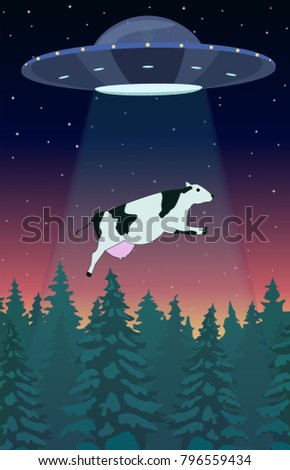 ufo abducts a cow freehand