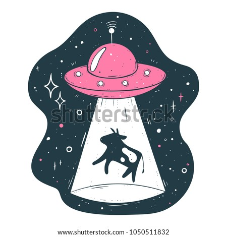 UFO abducts a cow vector illustration
