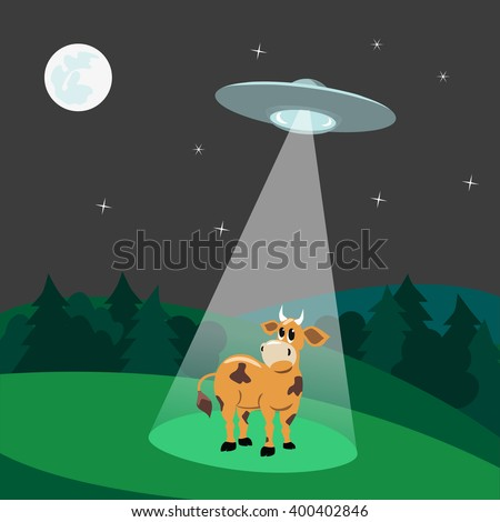 ufo abducts cowflying saucer