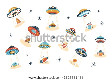 UFO Abducts Fast Food - Space Vector Set. Unhealthy Street Food Taken Away by ufo. Flying Saucer Kidnaps Appetizer.