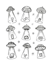UFO Abducts Various Household Items - Space Vector Set. Flying Saucer Kidnaps Objects.