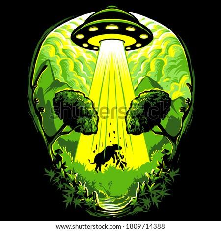 Ufo alien cow invasion illustration vector
