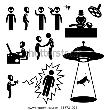 UFO Alien Invaders Stick Figure Pictogram Icon