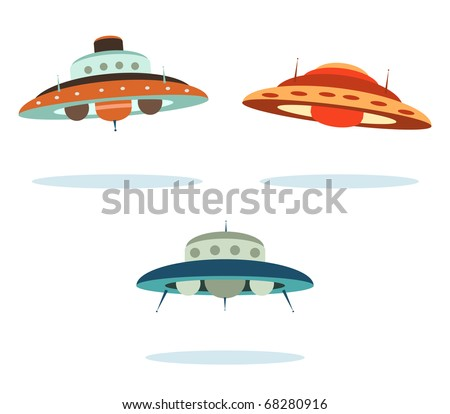 ufo alien space ships - stock vector