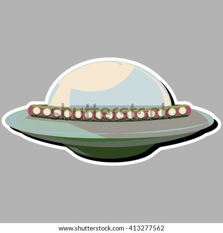 Ufo - Alien spaceship in retro cartoon style, vector sticker, isolated illustration on gray background