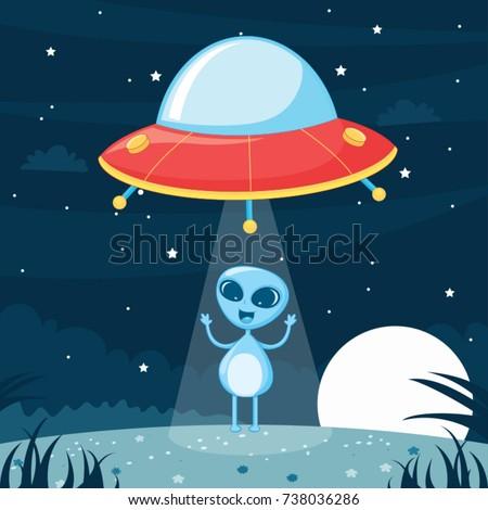 ufo alien vector illustration
