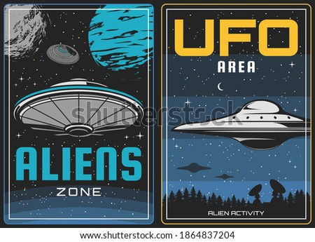 UFO aliens and outer space, universe planets, vector vintage poster. Aliens invasion and galaxy mystery science, fiction life in sky, UFO spacecraft or spaceship in moon, abduction and aliens attack