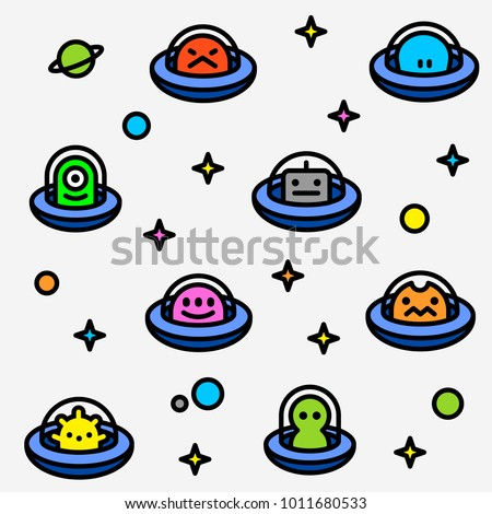 UFO aliens collection pattern, different colorful extraterrestrials in flying saucers with stars and planets, fat line cartoon style, childish vector seamless background