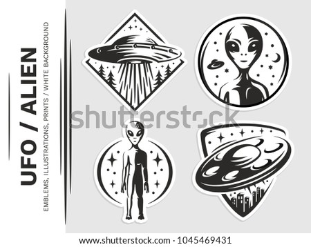UFO / Aliens emblem, vector illustration, print, sticker, patches, badges set on a white background.