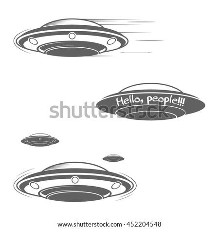 ufo cocept set of ufos flying