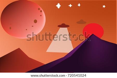 ufo flying above mountain on