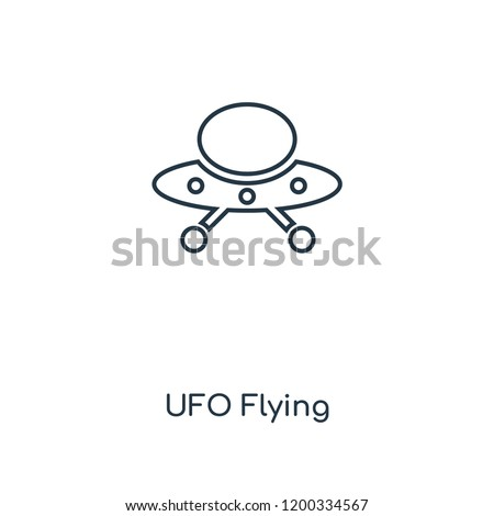 UFO Flying concept line icon. Linear UFO Flying concept outline symbol design. This simple element illustration can be used for web and mobile UI/UX.