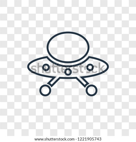 UFO Flying concept vector linear icon isolated on transparent background, UFO Flying concept transparency concept in outline style