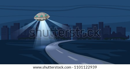 UFO flying over night city, metropolis, houses, skyscrapers expensive