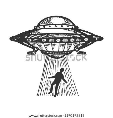 UFO Flying saucer kidnaps human person engraving vector illustration. Scratch board style imitation. Black and white hand drawn image.